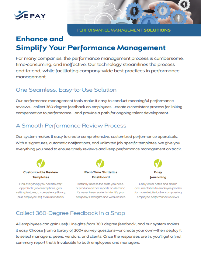 performance management sell sheet